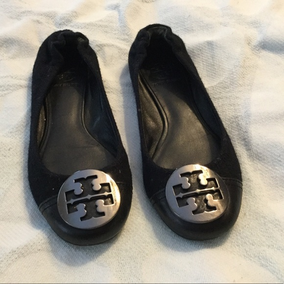 Tory Burch Black Reva suede/leather Size 6 1/2